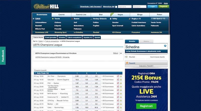 Scommesse Sportive sul sito William Hill