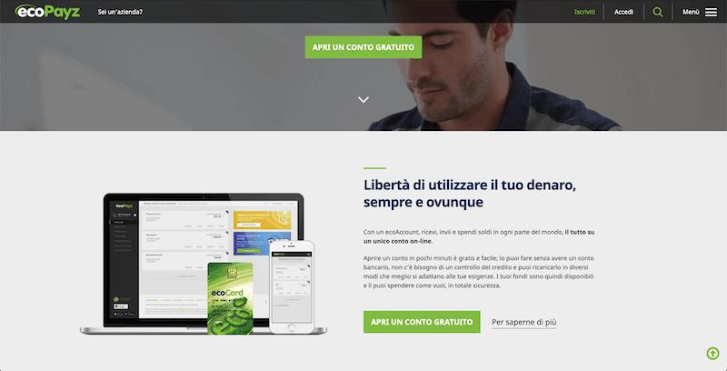 Homepage di EcoPayz