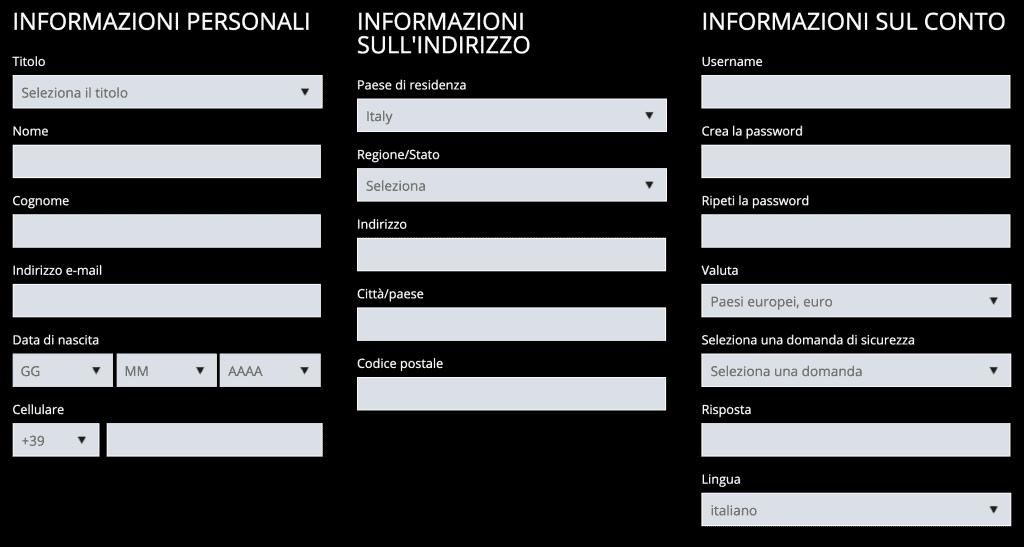 Form iscrizione Exclusivebet