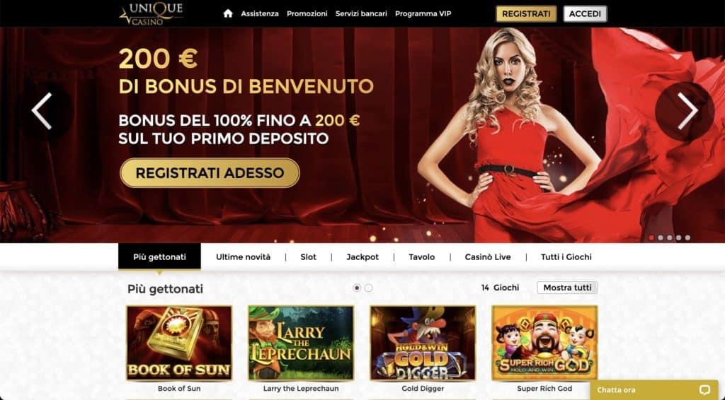 Unique casino - pagina principale